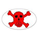 Peace Skull Oval Sticker