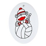 Sock Monkey Volleyball Oval Ornament