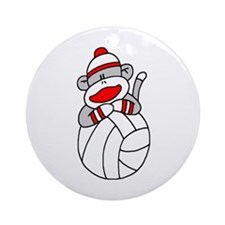 Sock Monkey Volleyball Ornament (Round)