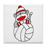 Sock Monkey Volleyball Tile Coaster