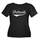 Detroit Women's Plus Size Scoop Neck Dark T-Shirt