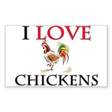 I Love Chickens Rectangle Decal