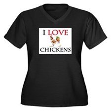 I Love Chickens Women's Plus Size V-Neck Dark T-Sh