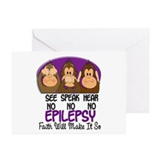 See Speak Hear No Epilepsy 1 Greeting Cards (Pk of