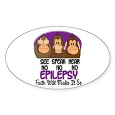 See Speak Hear No Epilepsy 1 Oval Sticker (10 pk)