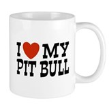 I Love My Pit bull Small Mugs