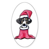 Holiday Piebald Doxie Oval Sticker (50 pk)