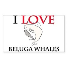 I Love Beluga Whales Rectangle Decal