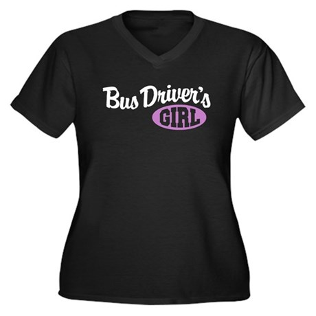 Bus Driver's Girl Women's Plus Size V-Neck Dark T-