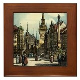 Old Munich Cityscape Framed Tile