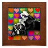BOSTON TERRIER DOG LOVE HEARTS Framed Tile