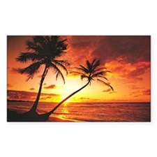 Tropical Beach Sunset Rectangle Decal