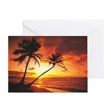 Tropical Beach Sunset Greeting Card
