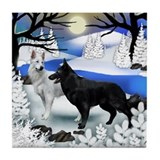 BLACK & WHITE GERMAN SHEPHERD DOGS Tile Coaste