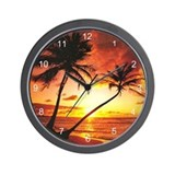 Tropical Beach Sunset Wall Clock
