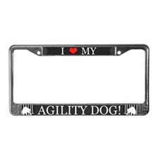 I Love My Agility Dog License Plate Frame (Gray)