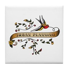 Urban Planning Scroll Tile Coaster