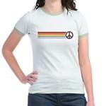 Retro Peace Rainbow Jr. Ringer T-Shirt