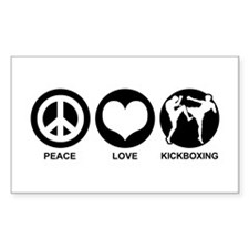 Peace Love Kickboxing Rectangle Decal