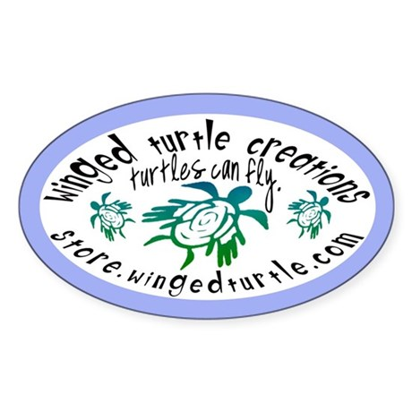 Winged Turtle Logo Oval Sticker