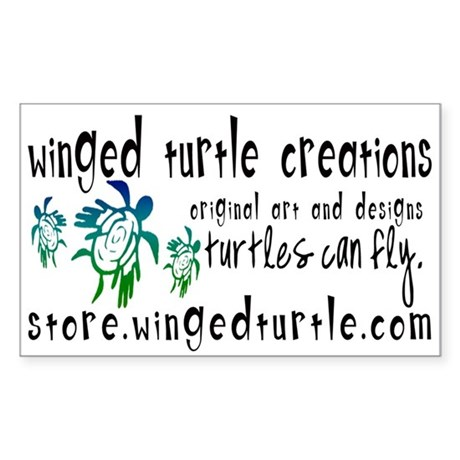 Winged Turtle Logo Rectangle Sticker