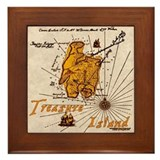 Gold Treasure Island Framed Tile