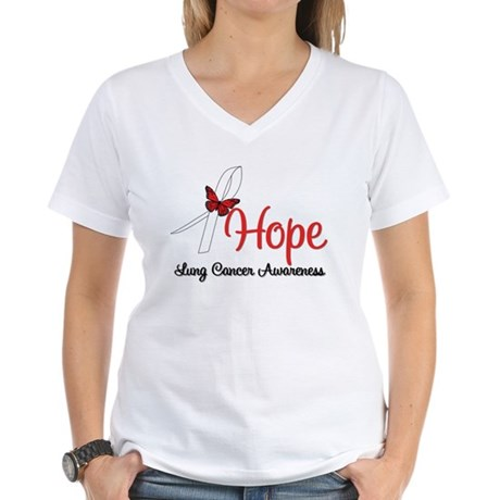 Hope Lung Cancer Women's V-Neck T-Shirt