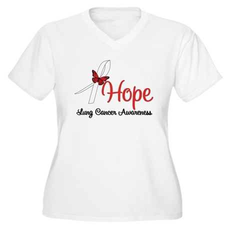Hope Lung Cancer Women's Plus Size V-Neck T-Shirt