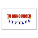 Retired TV Announcer Rectangle Sticker 10 pk)