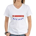 Retired TV Announcer Women's V-Neck T-Shirt