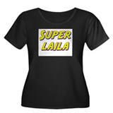 Super laila Women's Plus Size Scoop Neck Dark T-Sh