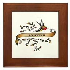 Knitting Scroll Framed Tile