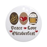 Peace Love Oktoberfest Ornament (Round)