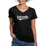 Jacksonville Women's V-Neck Dark T-Shirt
