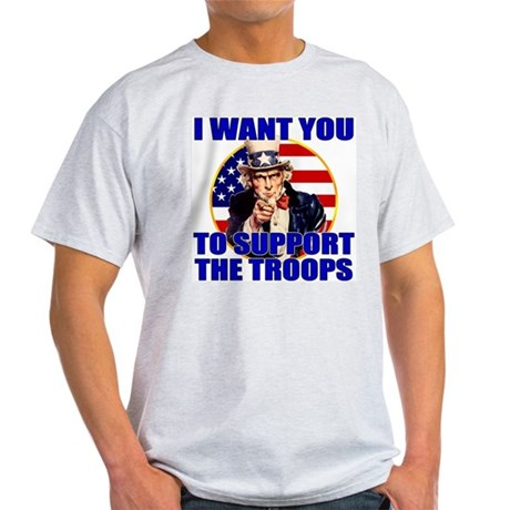 Support the Troops Uncle Sam Ash Grey T-Shirt