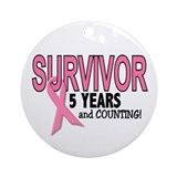 Breast Cancer Survivor 5 Years Ornament (Round)