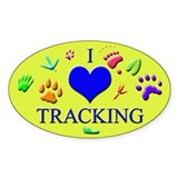 I Love Tracking Oval Sticker (10 pk)