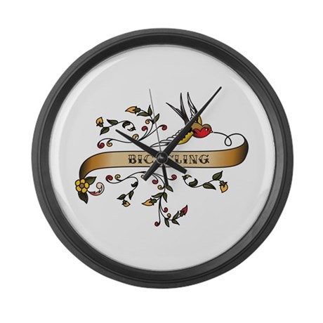 Bicycling Scroll Large Wall Clock