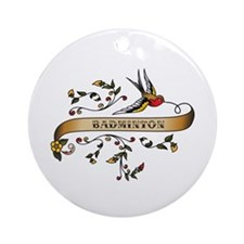 Badminton Scroll Ornament (Round)