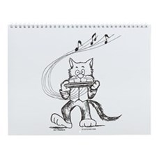 Catoons harmonica cat Wall Calendar