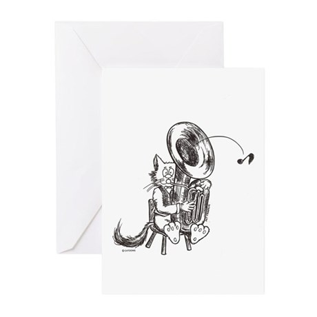 Catoons tuba cat Greeting Cards (Pk of 20)