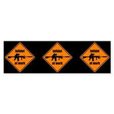 Infidel at Work Sign Bumper Sticker (10 pk)
