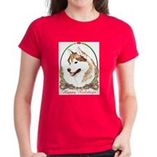 Red Husky Happy Holidays Tee