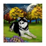 SIBERIAN HUSKY DOG FALL MOON Tile Coaster