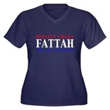 Reelect Fattah Women's Plus Size V-Neck Dark T-Shi
