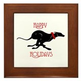 Greyhound Happy Holidays Framed Tile