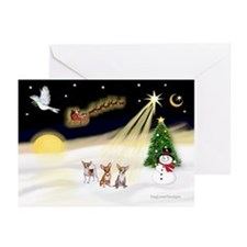 Night Flight/3 Chihuahuas Greeting Cards(Pk of 10)