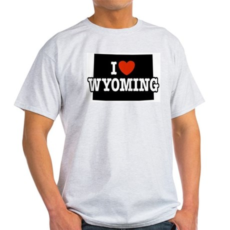 I Love Wyoming Ash Grey T-Shirt