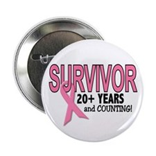 "Breast Cancer Survivor 20+ Years 2.25"" Button"