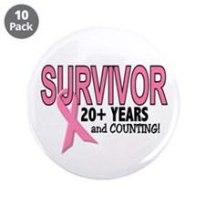 "Breast Cancer Survivor 20+ Years 3.5"" Button (10 p"